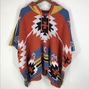 Western Aztec Print Poncho Sweater S/M